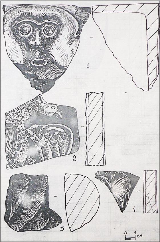 Фрагменты изразцов с территории монастыря